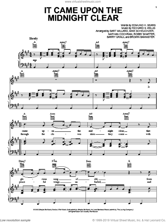 It Came Upon A Midnight Clear sheet music for voice, piano or guitar by MercyMe. Score Image Preview.