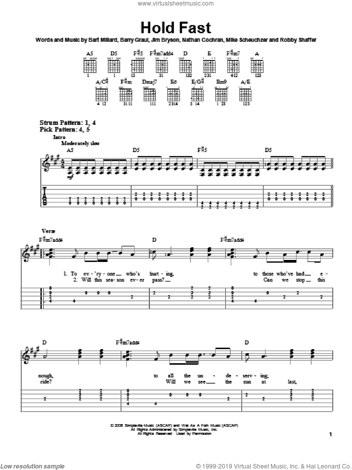 Hold Fast sheet music for guitar solo (easy tablature) by MercyMe, easy guitar (easy tablature). Score Image Preview.