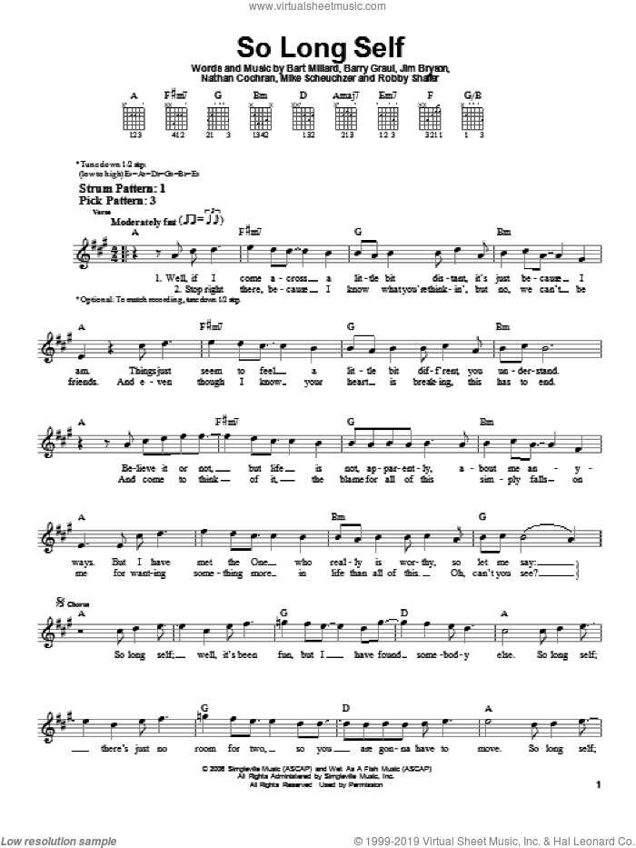 So Long Self sheet music for guitar solo (chords) by MercyMe. Score Image Preview.