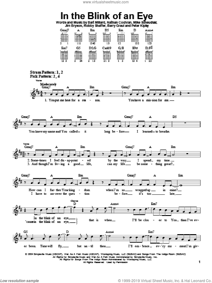 In The Blink Of An Eye sheet music for guitar solo (chords) by MercyMe, easy guitar (chords). Score Image Preview.