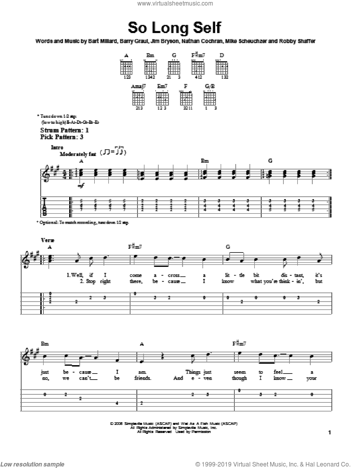 So Long Self sheet music for guitar solo (easy tablature) by MercyMe, easy guitar (easy tablature)