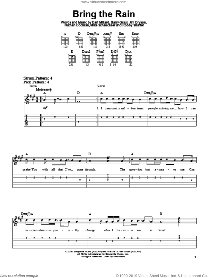 Bring The Rain sheet music for guitar solo (easy tablature) by MercyMe