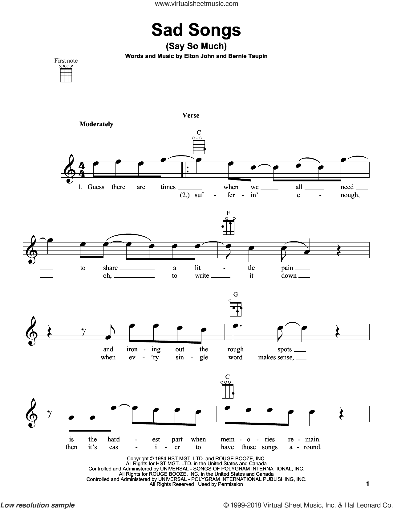 Sad Songs (Say So Much) sheet music for ukulele by Elton John, intermediate skill level