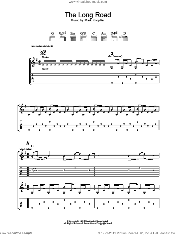 The Long Road (from Cal) sheet music for guitar (tablature) by Mark Knopfler. Score Image Preview.
