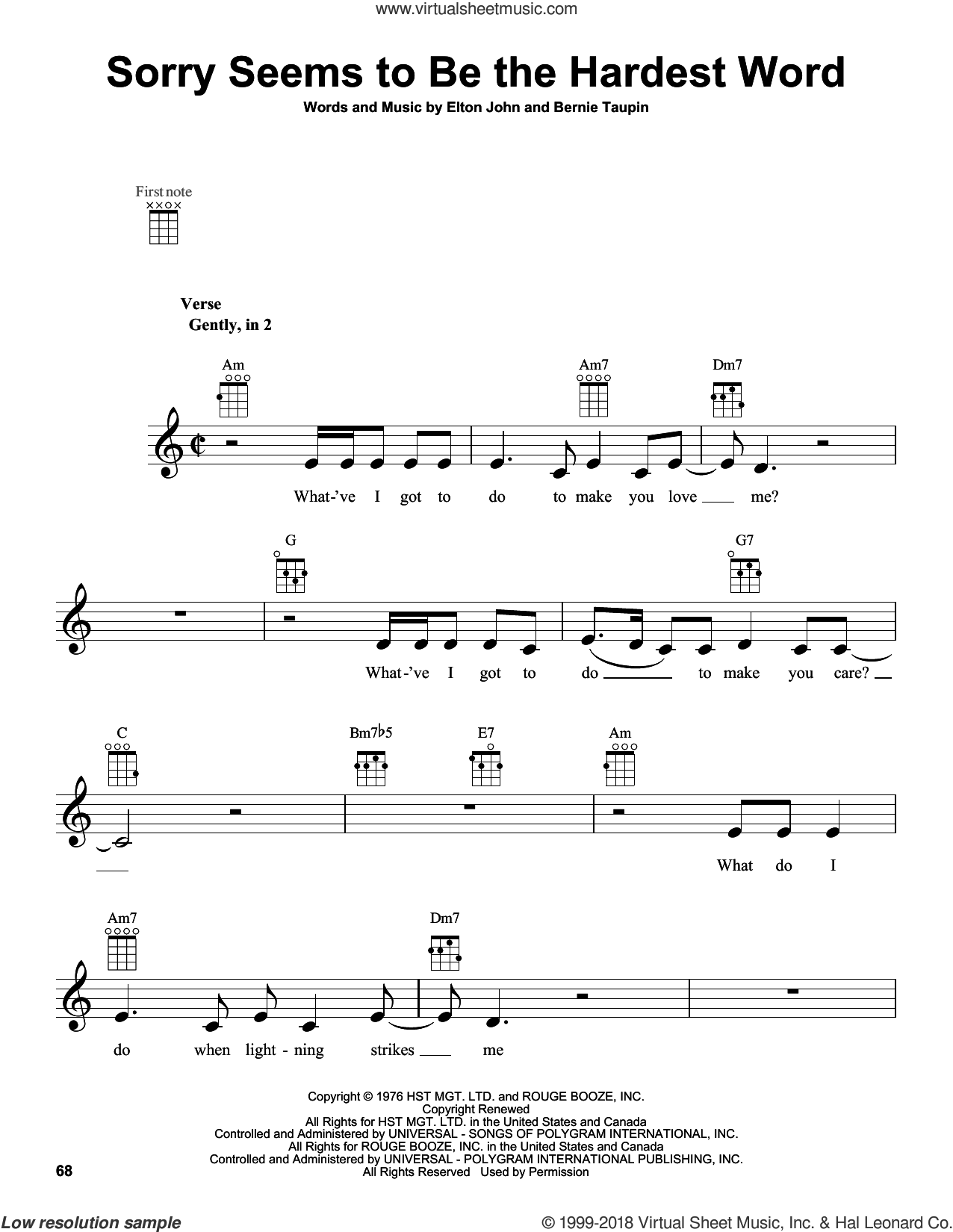 Sorry Seems To Be The Hardest Word sheet music for ukulele by Elton John. Score Image Preview.