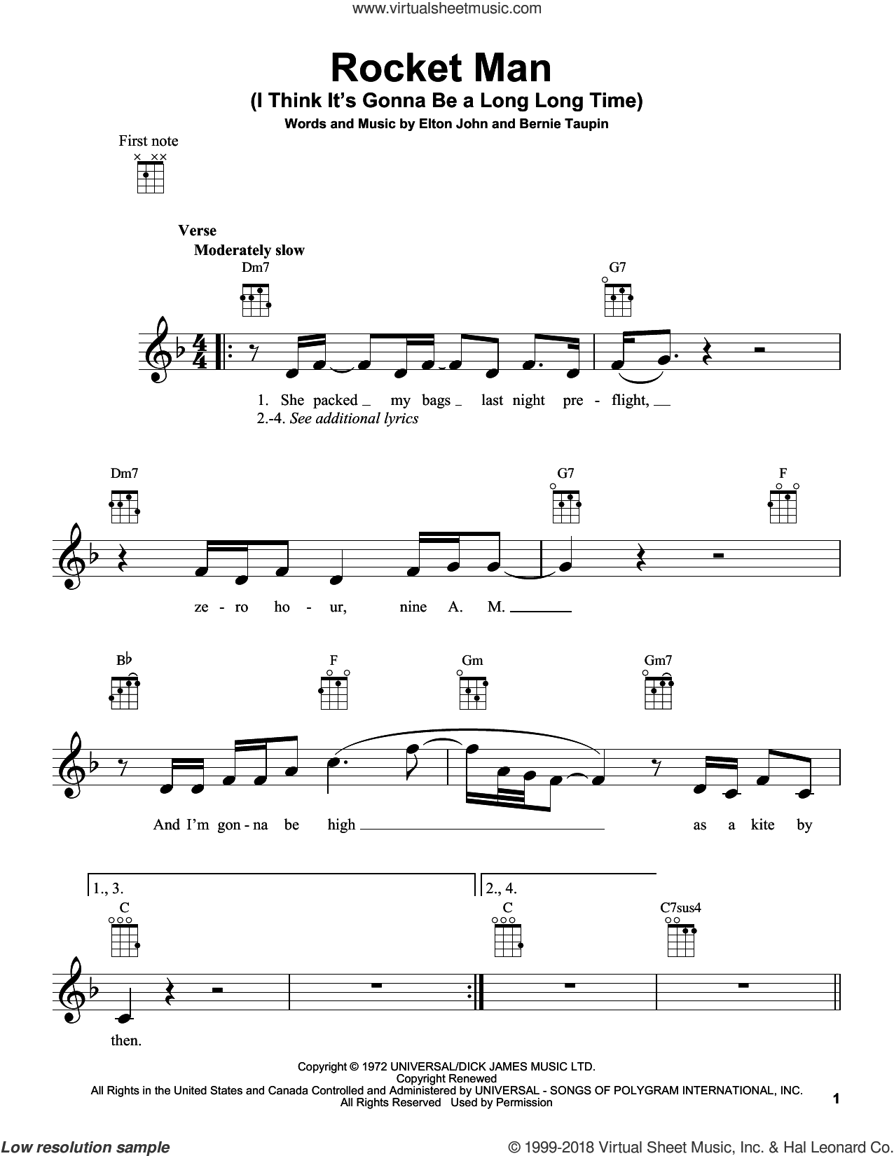 Rocket Man (I Think It's Gonna Be A Long Long Time) sheet music for ukulele by Elton John, intermediate skill level