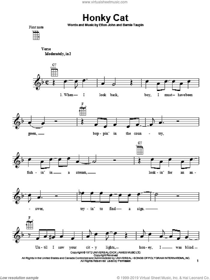 Honky Cat sheet music for ukulele by Elton John, intermediate skill level