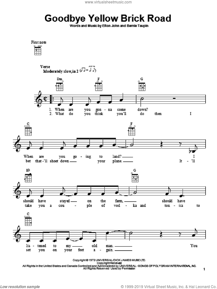John Goodbye Yellow Brick Road Sheet Music For Ukulele Pdf