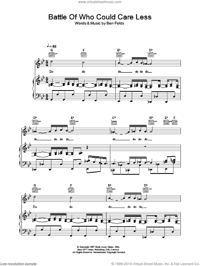 Battle Of Who Could Care Less sheet music for voice, piano or guitar by Ben Folds Five and Ben Folds, intermediate skill level