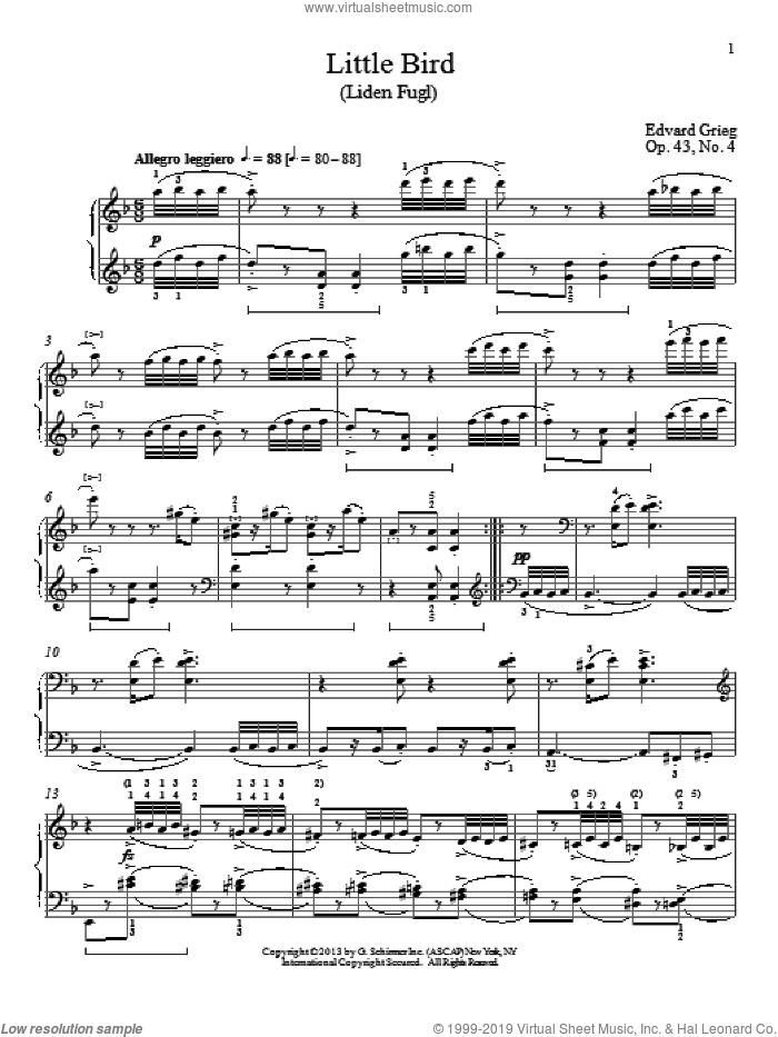 Little Bird (Liden Fugl), Op. 43, No. 4 sheet music for piano solo by Edward Grieg and William Westney, classical score, intermediate. Score Image Preview.