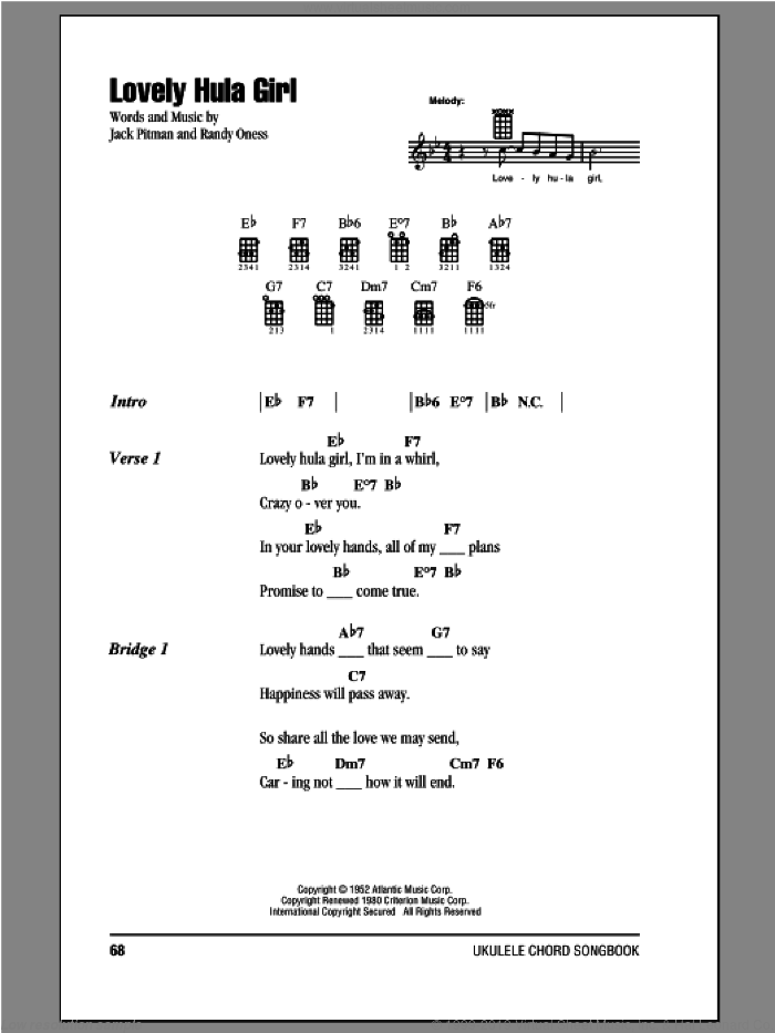 Oness - Lovely Hula Girl sheet music for ukulele (chords) [PDF]
