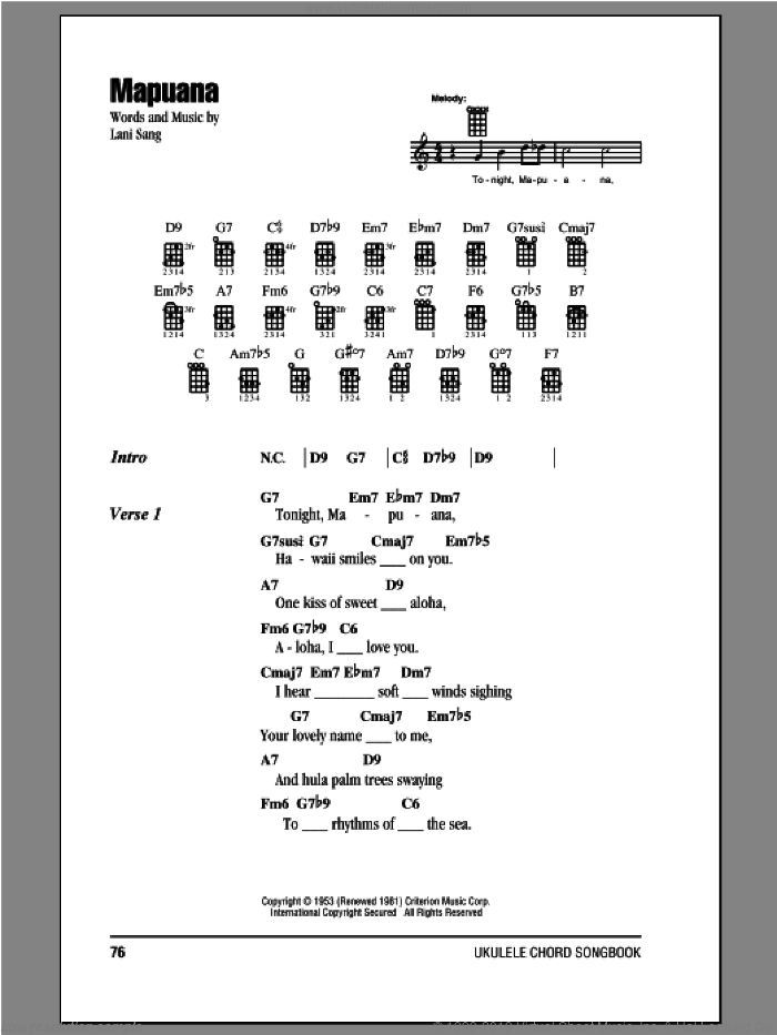Mapuana sheet music for ukulele (chords) by Lani Sang, intermediate. Score Image Preview.
