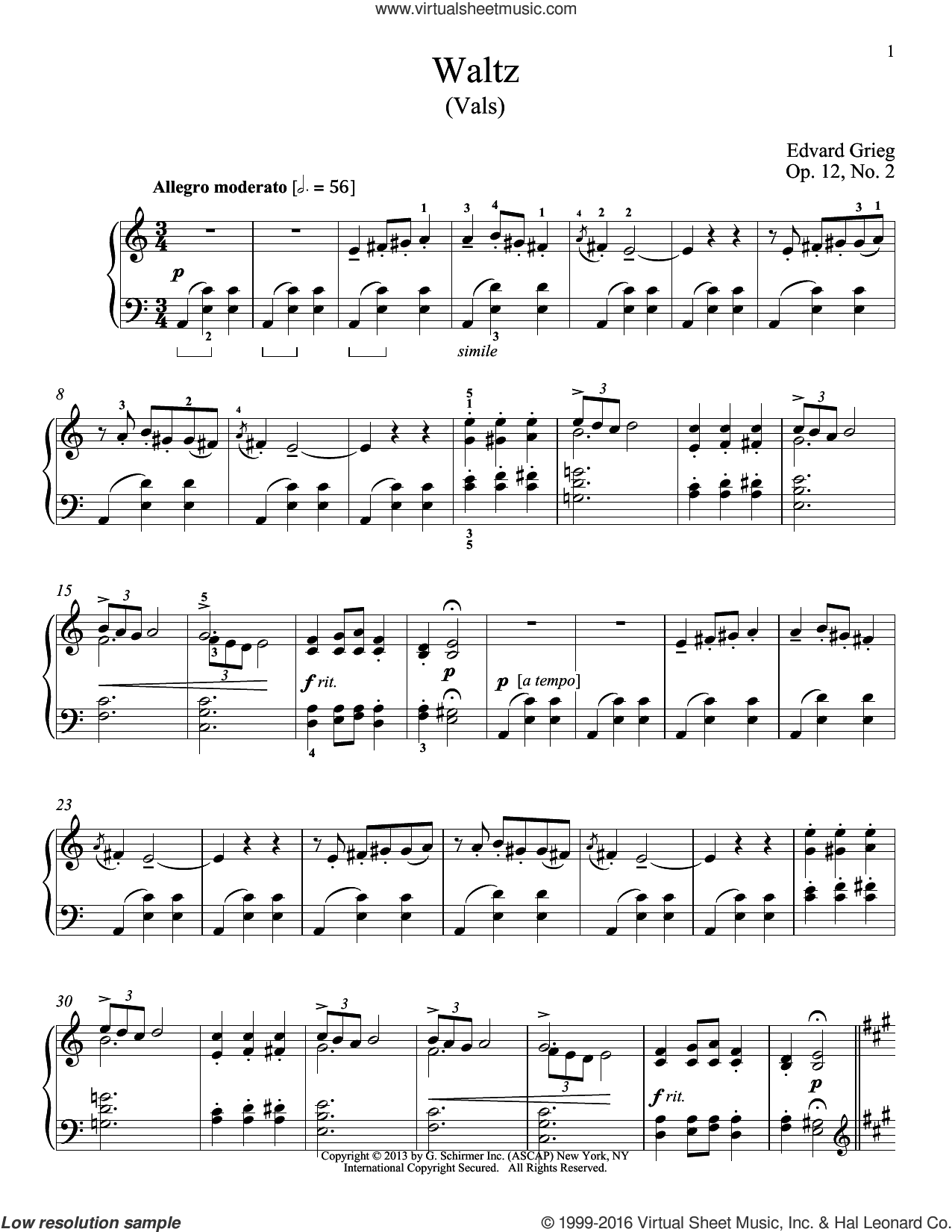 Waltz (Vals), Op. 12, No. 2 sheet music for piano solo by William Westney