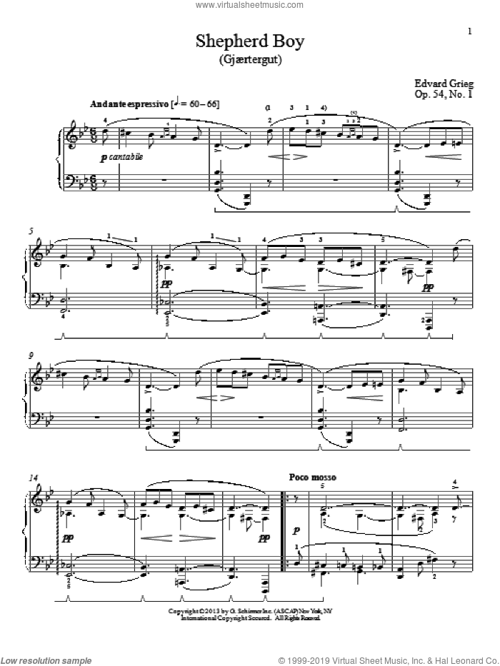 Shepherd Boy (Gjaertergut), Op. 54, No. 1 sheet music for piano solo by Edward Grieg and William Westney, classical score, intermediate skill level