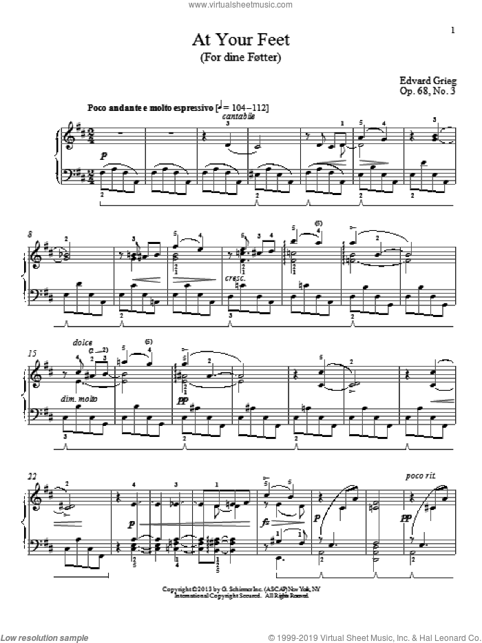 At Your Feet (For dine Fotter), Op. 68, No. 3 sheet music for piano solo by William Westney and Edward Grieg. Score Image Preview.