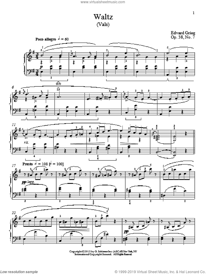 Waltz (Vals), Op. 38, No. 7 sheet music for piano solo by William Westney and Edward Grieg. Score Image Preview.