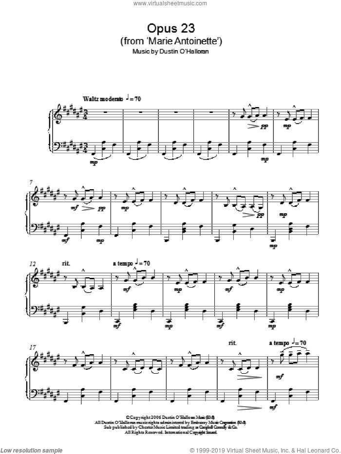 Opus 23 (from 'Marie Antoinette') sheet music for piano solo by Dustin O'Halloran, classical score, intermediate piano. Score Image Preview.