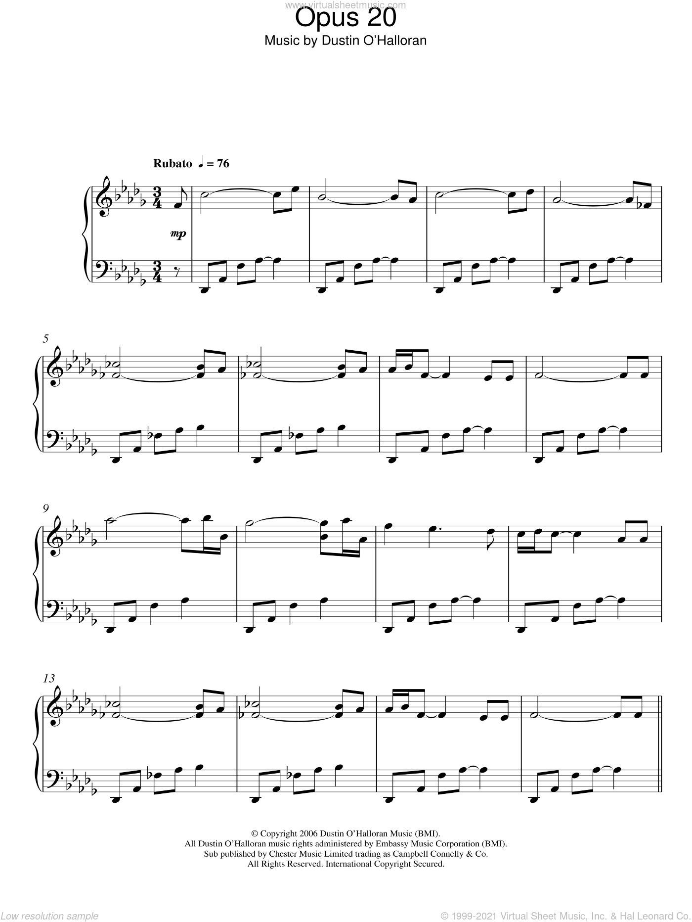 Opus 20 sheet music for piano solo by Dustin O'Halloran