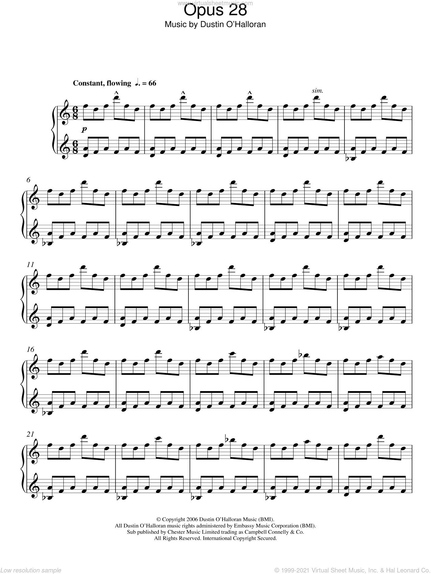 Opus 28 sheet music for piano solo by Dustin O'Halloran. Score Image Preview.