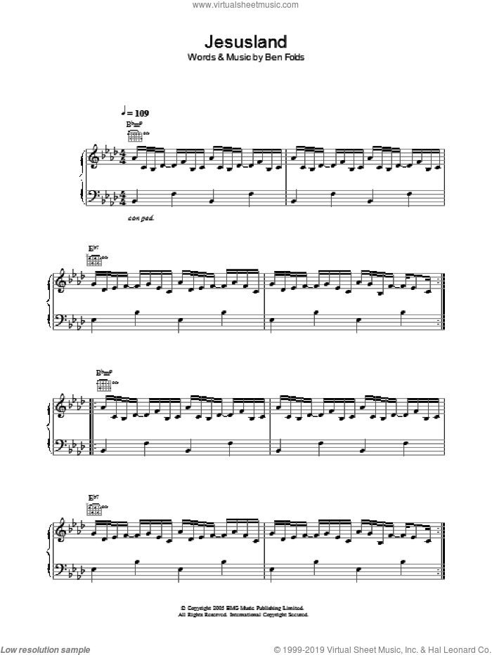 Jesusland sheet music for voice, piano or guitar by Ben Folds