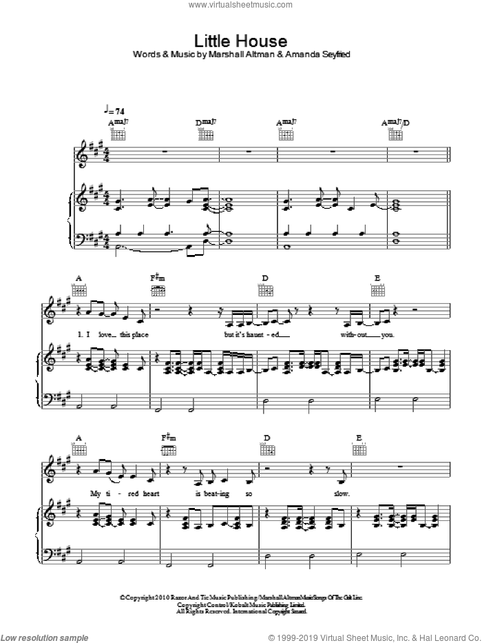 Little House sheet music for voice, piano or guitar by Amanda Seyfried and Marshall Altman, intermediate skill level