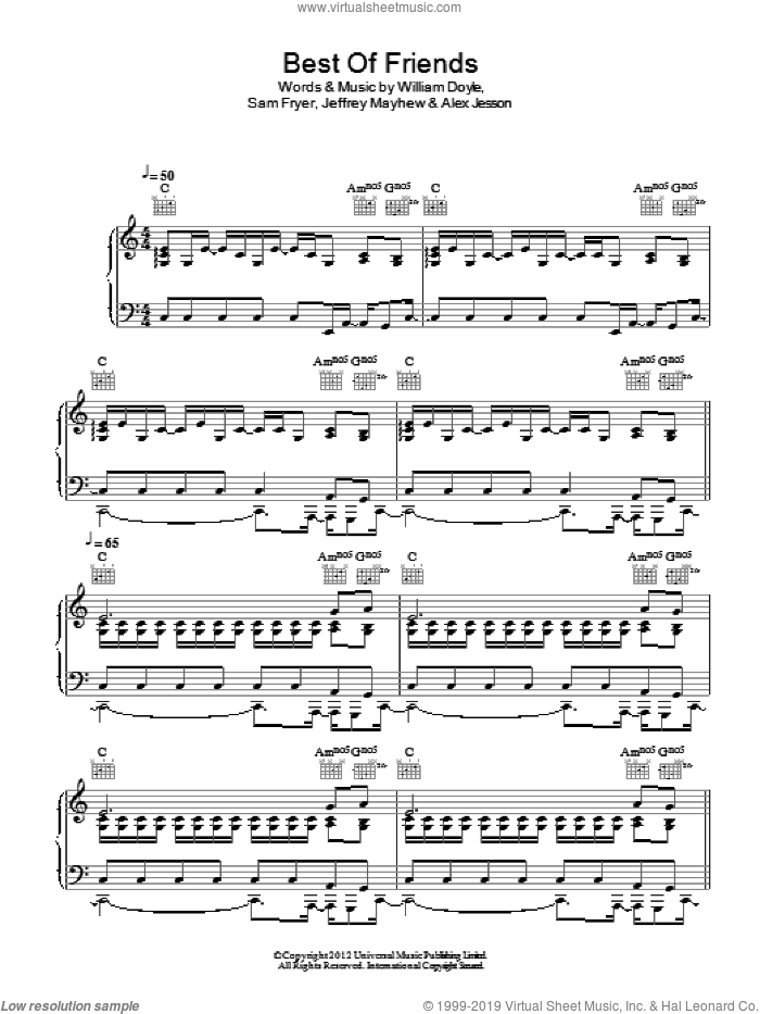 Best Of Friends sheet music for voice, piano or guitar by Palma Violets, intermediate. Score Image Preview.
