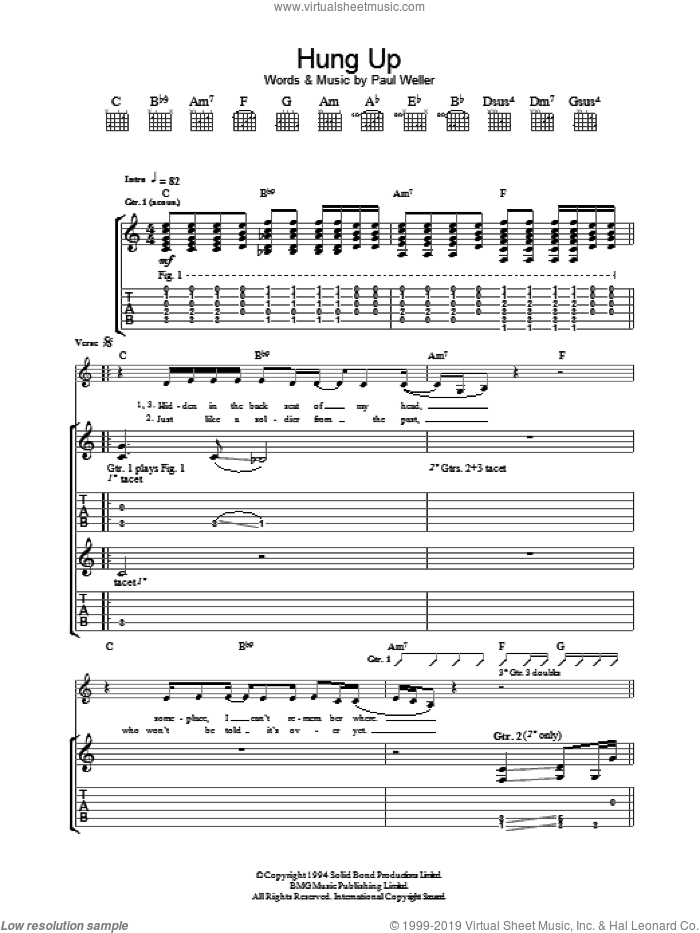 Hung Up sheet music for guitar (tablature) by Paul Weller, intermediate guitar (tablature). Score Image Preview.