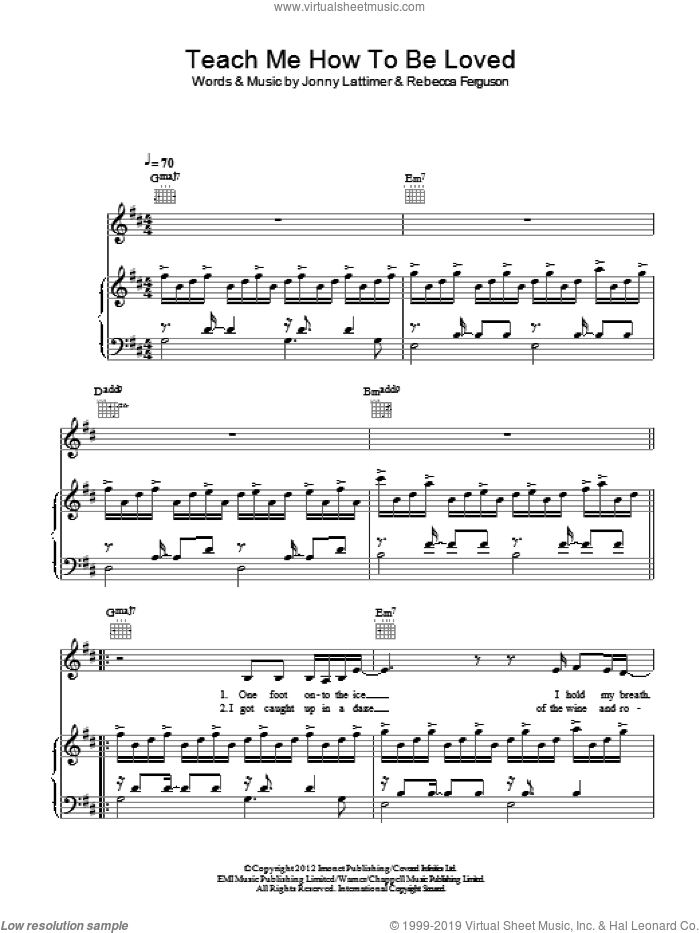 Teach Me How To Be Loved sheet music for voice, piano or guitar by Rebecca Ferguson and Jonny Lattimer, intermediate skill level