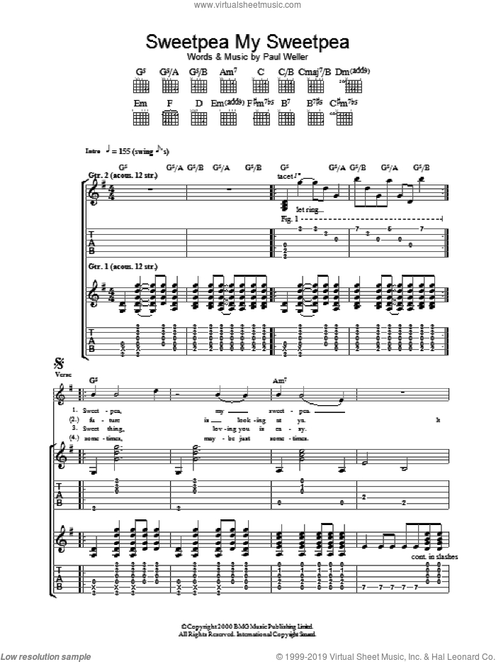 Sweet Pea, My Sweet Pea sheet music for guitar (tablature) by Paul Weller. Score Image Preview.