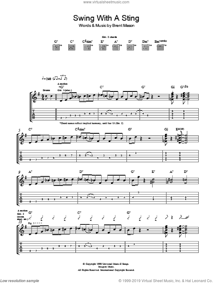 Swing With A Sting sheet music for guitar (tablature) by Brent Mason. Score Image Preview.