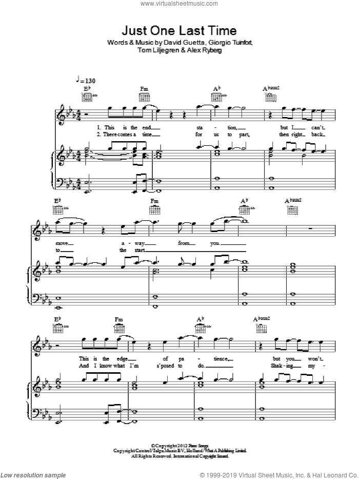 Just One Last Time sheet music for voice, piano or guitar by Tom Liljegren, David Guetta and Giorgio Tuinfort. Score Image Preview.