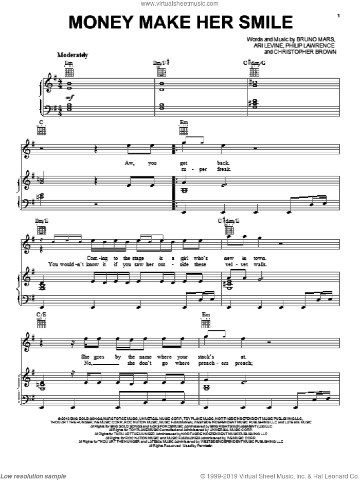 Money Make Her Smile sheet music for voice, piano or guitar by Bruno Mars. Score Image Preview.
