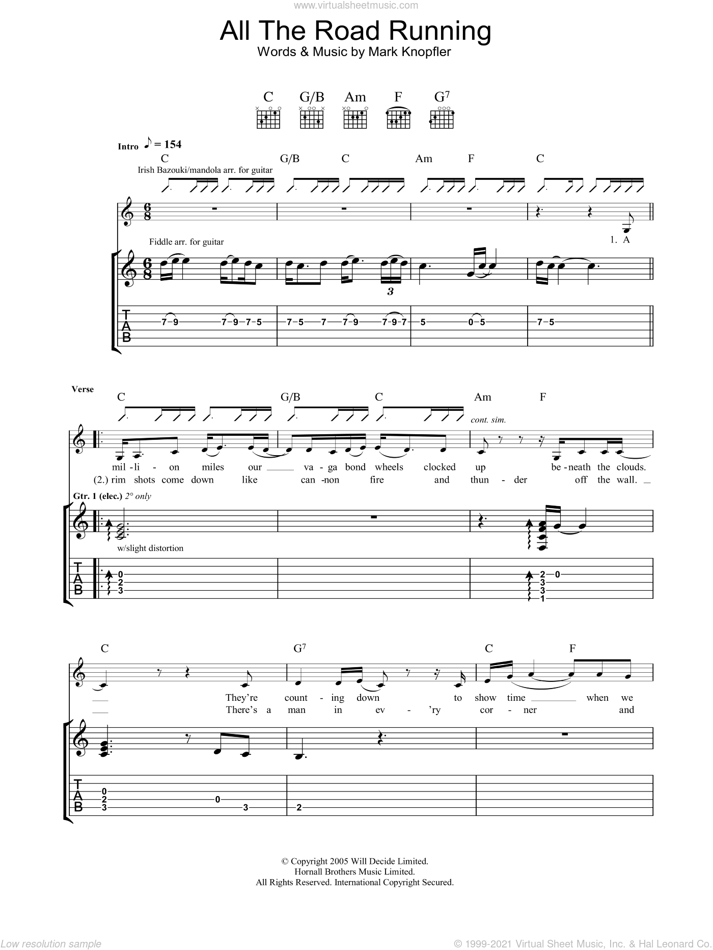 All The Road Running sheet music for guitar (tablature) by Mark Knopfler