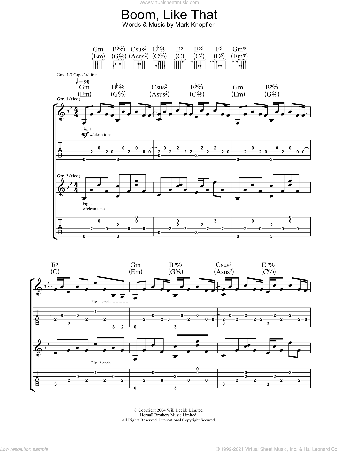 Boom, Like That sheet music for guitar (tablature) by Mark Knopfler. Score Image Preview.