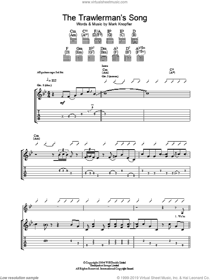 The Trawlerman's Song sheet music for guitar (tablature) by Mark Knopfler, intermediate