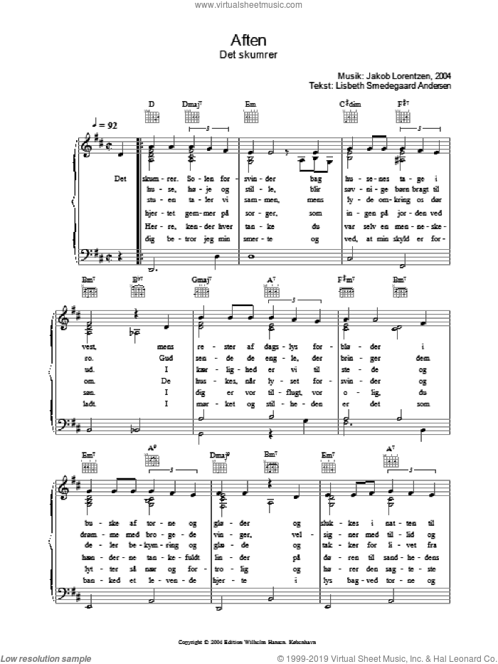 Aften - Det Skumrer sheet music for voice, piano or guitar by Lisbeth Smedegaard Andersen. Score Image Preview.