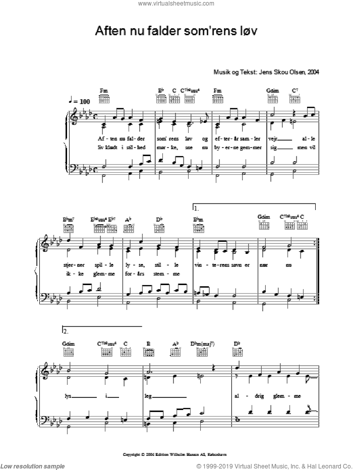 Aften Nu Falder Som'rens LAuv sheet music for voice, piano or guitar by Jens Skou Olsen. Score Image Preview.