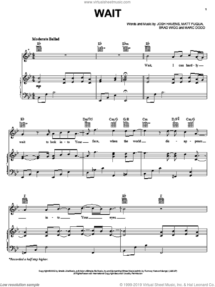 Wait sheet music for voice, piano or guitar by The Afters, intermediate skill level