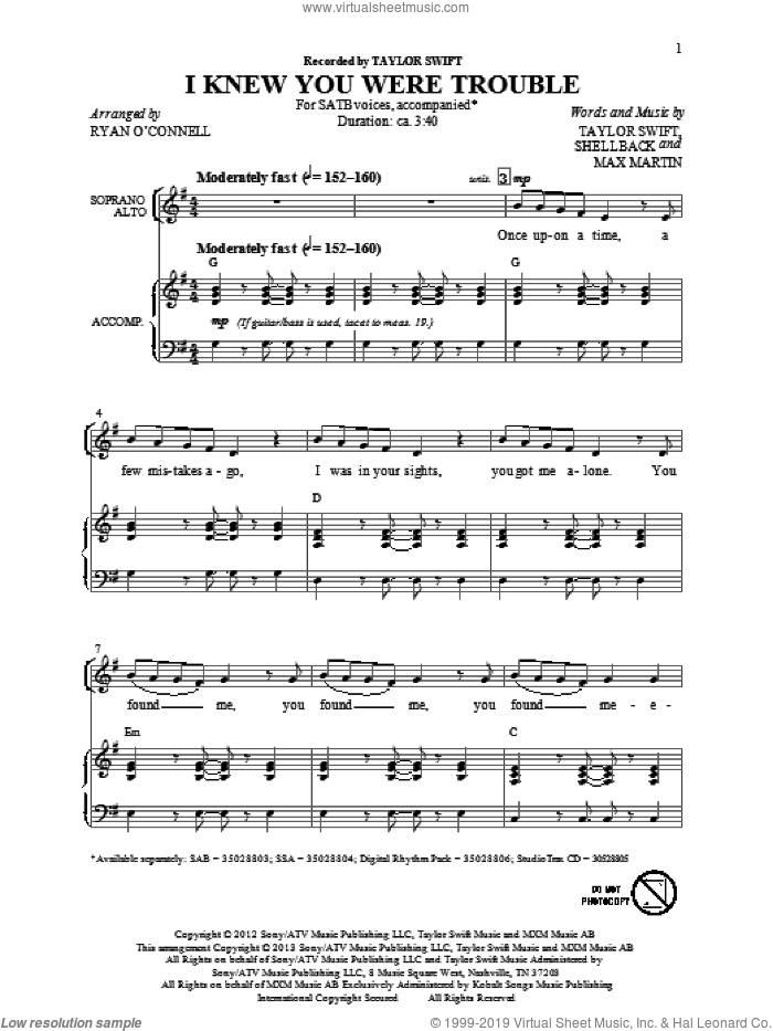 I Knew You Were Trouble sheet music for choir and piano (SATB) by Ryan O'Connell and Taylor Swift. Score Image Preview.