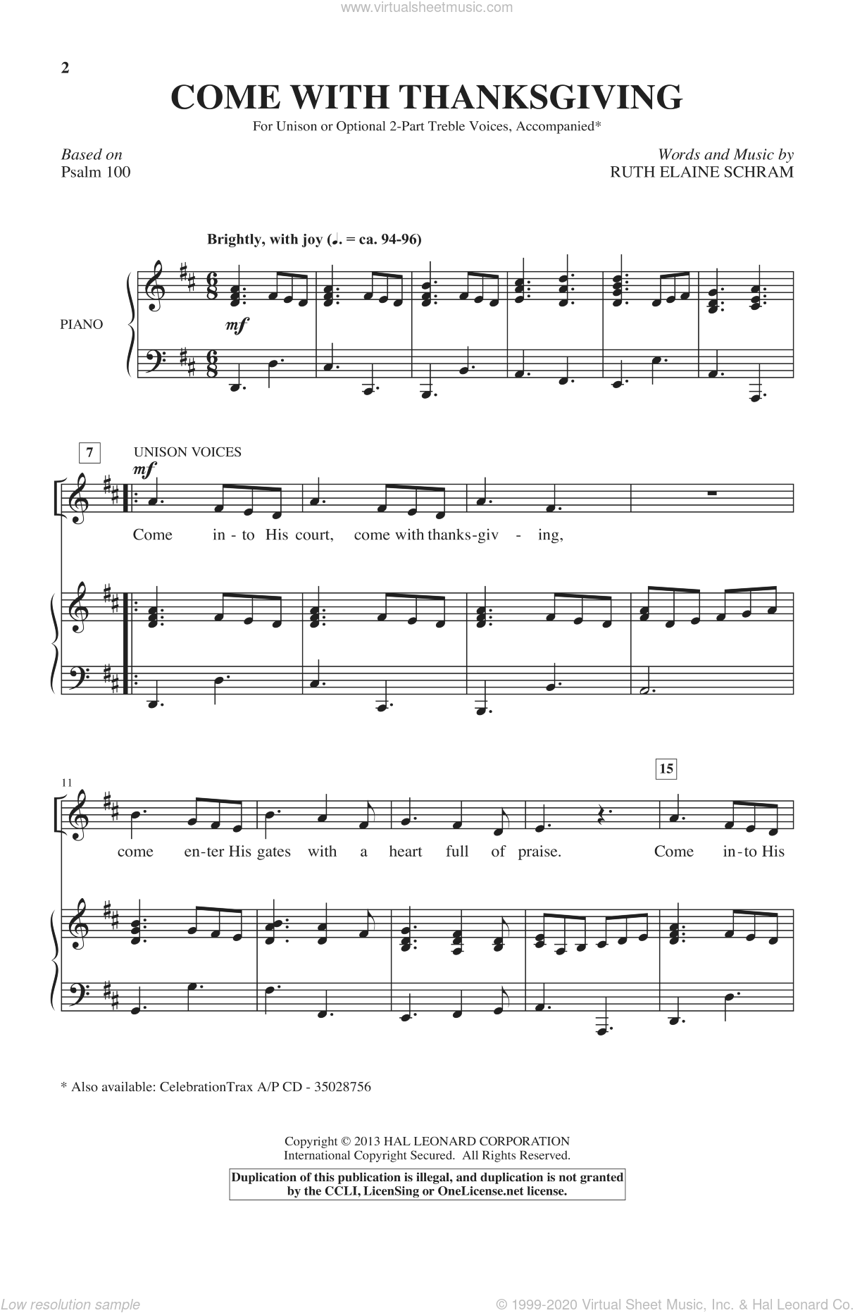 Come With Thanksgiving sheet music for choir (Unison) by Ruth Elaine Schram, intermediate skill level