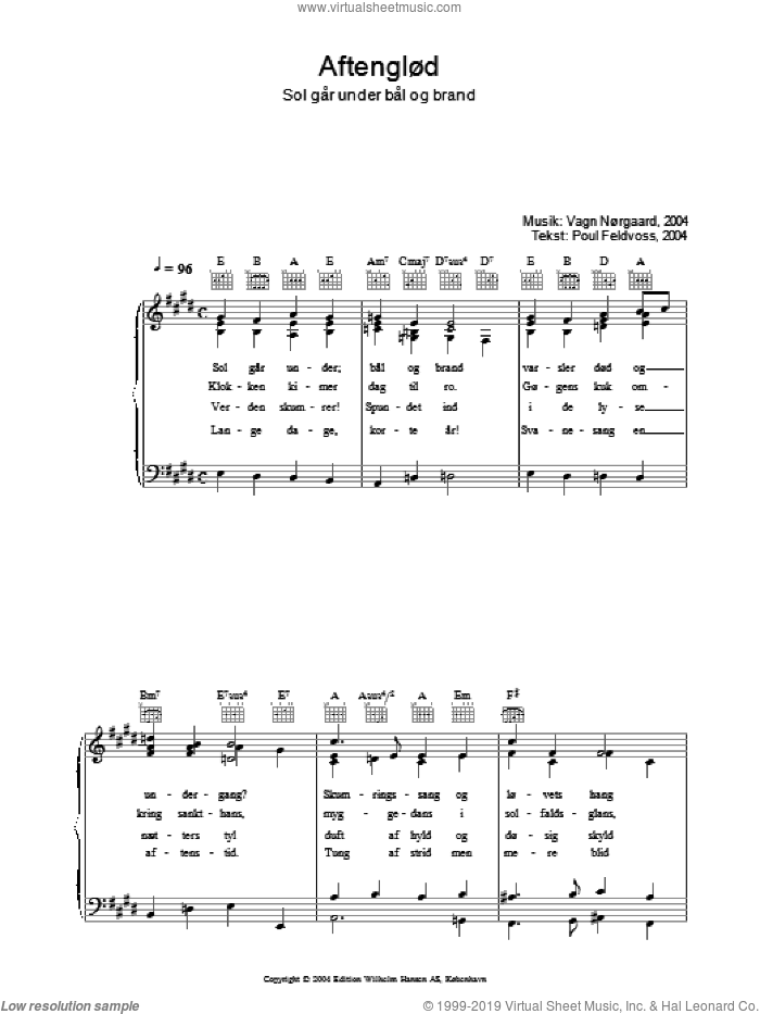 AftenglAud - Sol GA�r Under BA�l Og Brand sheet music for voice, piano or guitar by Poul Feldvoss. Score Image Preview.