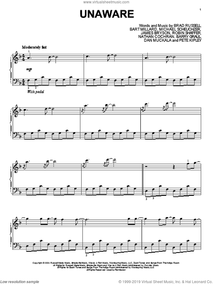 Unaware sheet music for piano solo by MercyMe, intermediate skill level
