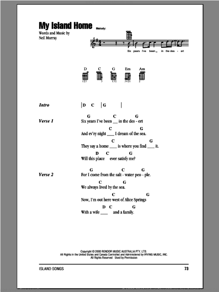My Island Home sheet music for ukulele (chords) by Neil Murray
