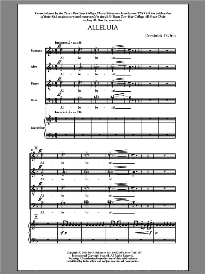 Alleluia (Includes Marimba) sheet music for choir (SATB) by Dominick Diorio. Score Image Preview.