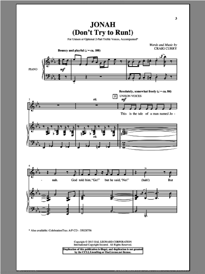 Jonah (Don't Try To Run!) sheet music for choir and piano by Craig Curry. Score Image Preview.