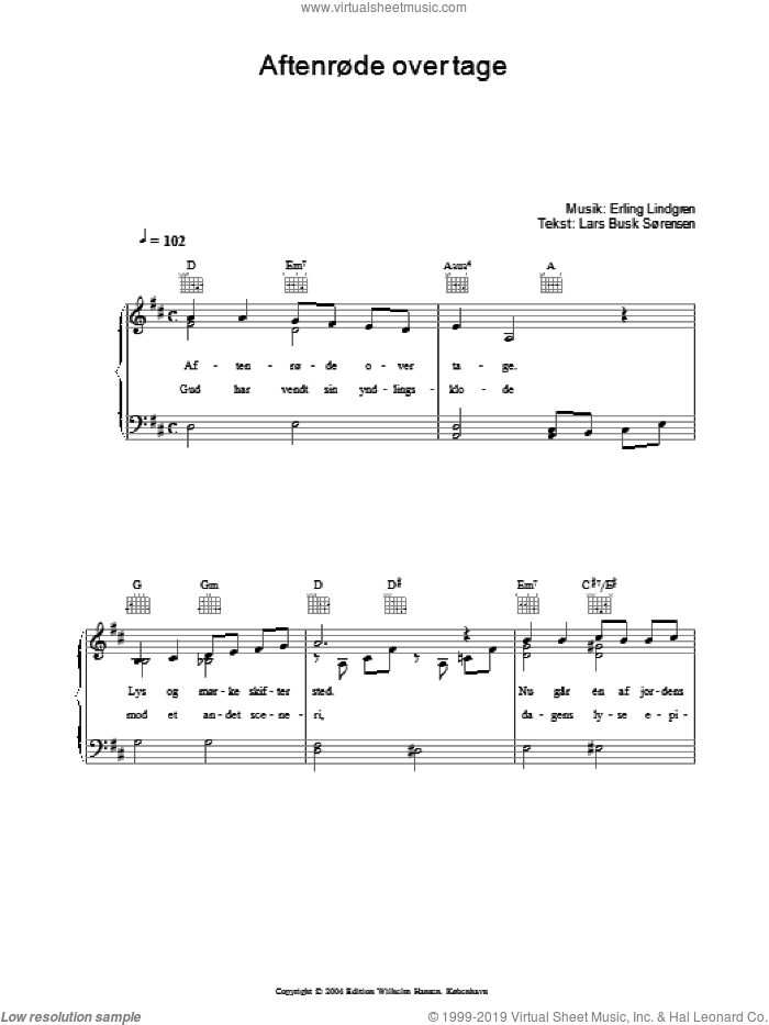 AftenrAude Over Tage sheet music for voice, piano or guitar by Erling Lindgren. Score Image Preview.