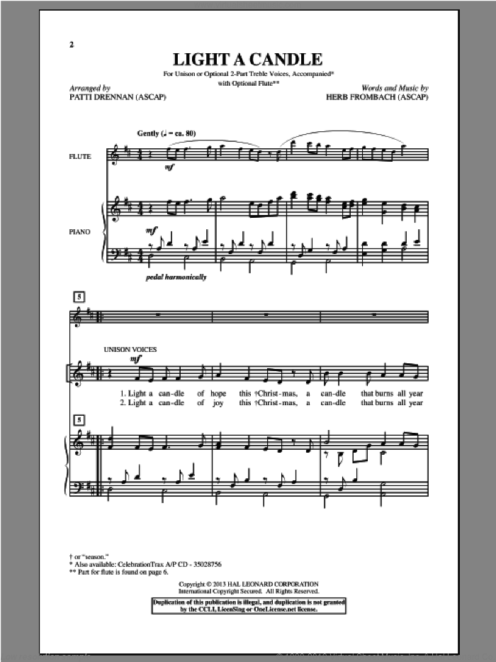Light A Candle sheet music for choir and piano by Patti Drennan