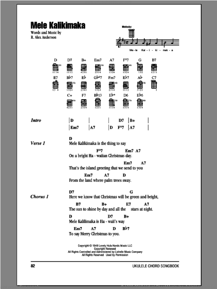 Mele Kalikimaka sheet music for ukulele (chords) by Bing Crosby and R. Alex Anderson. Score Image Preview.