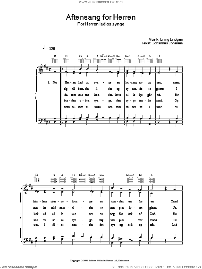 Aftensang For Herren - For Herren Lad Os Singe sheet music for voice, piano or guitar by Johannes Johansen. Score Image Preview.