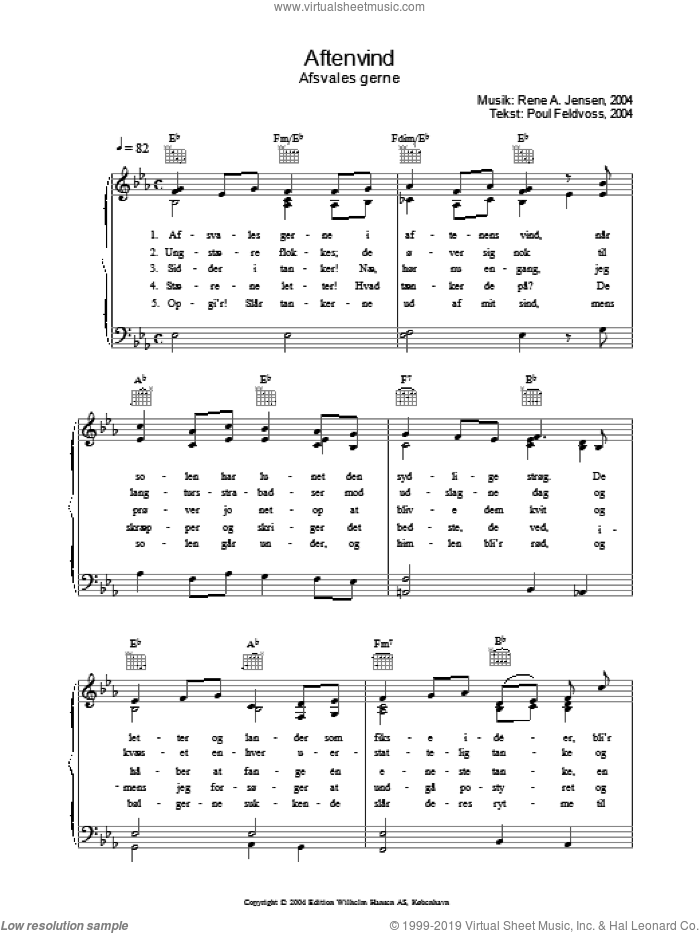Aftenvind - Afsvales Gerne sheet music for voice, piano or guitar by Rene A. Jensen and Poul Feldvoss. Score Image Preview.